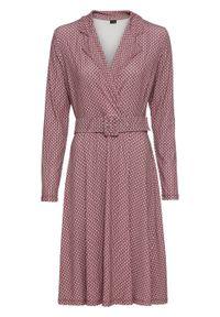 Sukienka z paskiem bonprix beżowo-bordowy żakardowy. Kolor: beżowy. Materiał: żakard