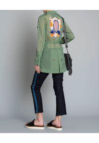 Mr & Mrs Italy - MR & MRS ITALY - Lekki płaszcz khaki. Kolor: zielony. Materiał: materiał. Wzór: moro, aplikacja. Sezon: lato. Styl: militarny
