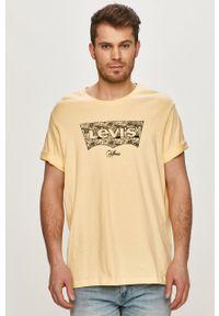 Żółty t-shirt Levi's® na spotkanie biznesowe, casualowy, z nadrukiem