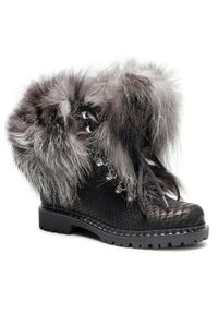 Czarne buty trekkingowe New Italia Shoes z cholewką, klasyczne
