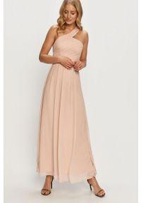 Różowa sukienka Vila casualowa, prosta, maxi, bez rękawów