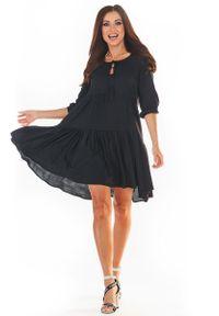 Awama - Czarna Sukienka Mini w Stylu Boho. Kolor: czarny. Materiał: wiskoza, elastan. Styl: boho. Długość: mini