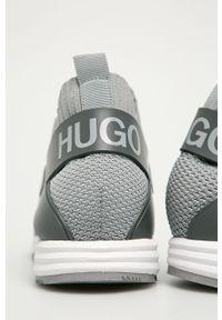 Szare sneakersy Hugo na sznurówki, z okrągłym noskiem, z cholewką