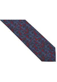 Adam Collection - Bordowy krawat męski w niebieskie liście D306. Kolor: niebieski, czerwony, wielokolorowy. Materiał: tkanina, mikrofibra