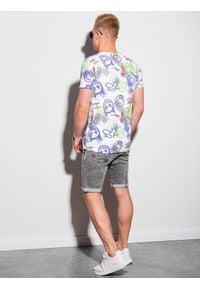 Ombre Clothing - T-shirt męski z nadrukiem S1419 - biały - XXL. Okazja: na co dzień. Kolor: biały. Materiał: jeans, poliester, bawełna. Długość: krótkie. Wzór: nadruk. Styl: casual