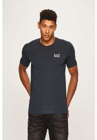 EA7 Emporio Armani - T-shirt. Okazja: na co dzień. Kolor: niebieski. Materiał: dzianina. Styl: casual