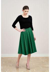 Marie Zélie - Spódnica Farin ciemnozielona w kropki. Kolor: zielony. Materiał: jersey, bawełna, dzianina, materiał, elastan, skóra, guma. Wzór: kropki