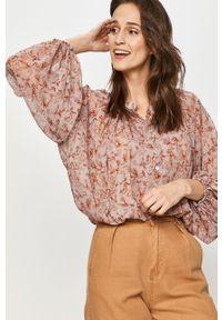 Beżowa bluzka Answear Lab wakacyjna, z długim rękawem