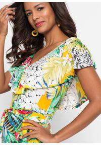 Długa sukienka z nadrukiem bonprix zielono-żółty w roślinny wzór. Kolor: zielony. Wzór: nadruk. Długość: maxi