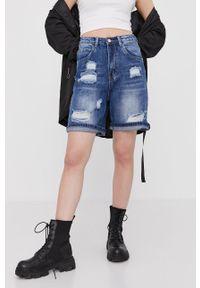 Answear Lab - Szorty jeansowe. Okazja: na co dzień. Stan: podwyższony. Kolor: niebieski. Materiał: jeans. Styl: wakacyjny