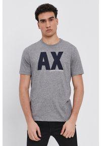 Armani Exchange - T-shirt. Kolor: szary. Materiał: dzianina. Wzór: nadruk