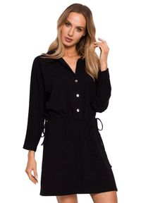 Czarna sukienka MOE koszulowa, mini