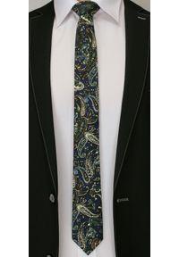 Oryginalny Krawat Męski- 6 cm - Alties, Wzór Paisley, Granatowy. Kolor: niebieski. Materiał: tkanina. Wzór: paisley. Styl: klasyczny, wizytowy, elegancki
