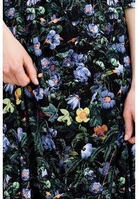 Niebieska sukienka Marie Zélie z kopertowym dekoltem, z krótkim rękawem, prosta