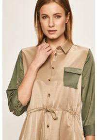 Vero Moda - Sukienka. Okazja: na co dzień. Kolor: zielony. Materiał: tkanina. Wzór: gładki. Typ sukienki: proste. Styl: casual