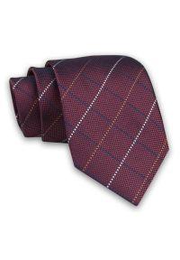 Burgundowy Męski Krawat -Chattier- 7,5cm, Klasyczny, Elegancki, Bordowy, w Kratkę. Kolor: czerwony. Materiał: tkanina. Wzór: kratka. Styl: klasyczny, elegancki