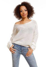 Sweter z dekoltem w serek, krótki, klasyczny