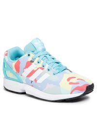 Niebieskie buty sportowe Adidas Adidas ZX Flux, z cholewką