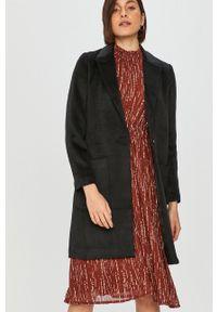 Answear Lab - Płaszcz z domieszką wełny. Okazja: na co dzień. Kolor: czarny. Materiał: wełna. Wzór: gładki. Styl: wakacyjny
