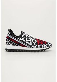 Czarne buty sportowe DKNY na średnim obcasie, na obcasie, z cholewką
