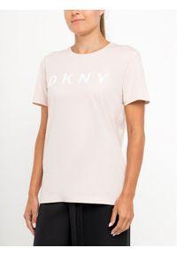 Różowy t-shirt DKNY