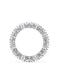 Srebrny pierścionek Swarovski z kryształem, z aplikacjami, metalowy
