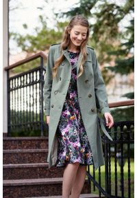 Marie Zélie - Trencz Adria bawełna z elastanem oliwkowy. Kolor: oliwkowy. Materiał: bawełna, elastan. Sezon: lato. Styl: klasyczny