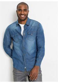 Koszula dżinsowa Slim Fit, długi rękaw bonprix Koszula dż SF j.ni.den. Kolor: niebieski. Długość rękawa: długi rękaw. Długość: długie