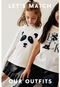 Biała bluzka z krótkim rękawem Mango Kids z aplikacjami