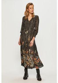 Czarna sukienka Desigual z długim rękawem, midi, casualowa, na co dzień