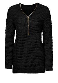 Sweter dzianinowy z zamkiem bonprix czarny. Kolor: czarny. Materiał: dzianina