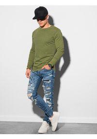 Ombre Clothing - Longsleeve męski bez nadruku L131 - oliwkowy - XXL. Kolor: oliwkowy. Materiał: bawełna. Długość rękawa: długi rękaw #5