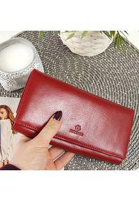 Krenig - Skórzany portfel damski KRENIG Classic 12015 czerwony w pudełku. Kolor: czerwony. Materiał: skóra