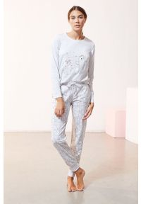 Biała piżama Etam gładkie, długa