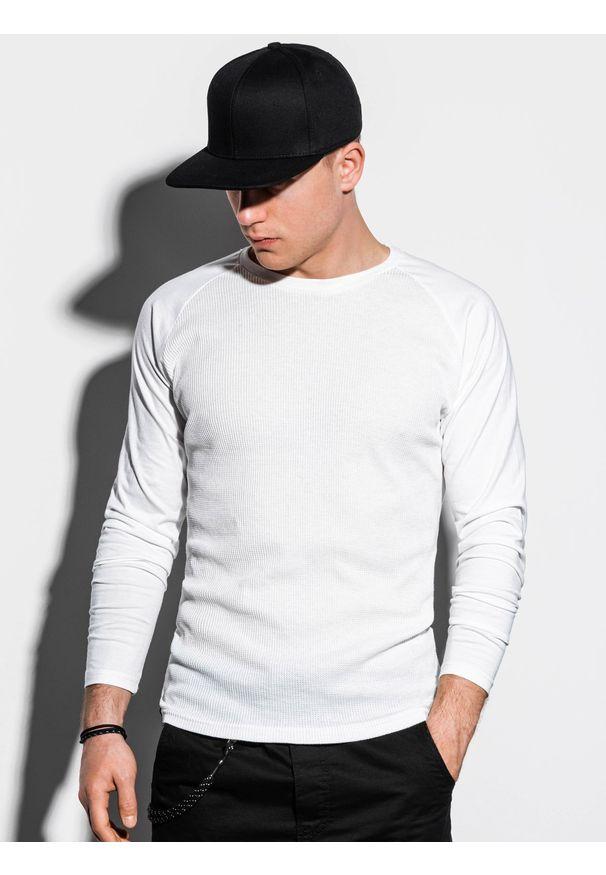 Ombre Clothing - Longsleeve męski bez nadruku L119 - biały - XXL. Kolor: biały. Materiał: bawełna, tkanina, poliester. Długość rękawa: długi rękaw