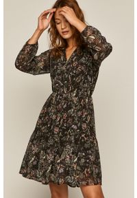 Czarna sukienka medicine z długim rękawem, mini