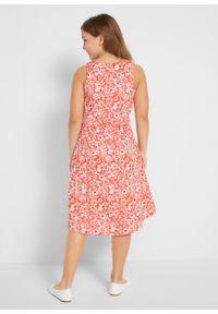 Czerwona sukienka bonprix na lato, w kwiaty