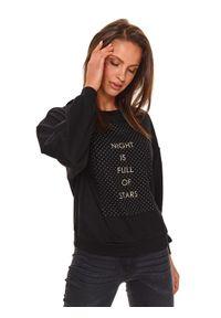 TOP SECRET - Bluza z bufiastymi rękawami i aplikacją. Kolor: czarny. Materiał: materiał. Długość: długie. Wzór: aplikacja. Sezon: wiosna