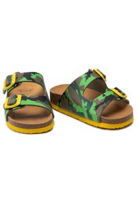 Scholl - Klapki SCHOLL - Air Bag Kid F29642 1602 270 Green/Yellow. Kolor: zielony. Materiał: skóra