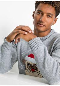 Sweter z bożonarodzeniowym motywem bonprix jasnoszary melanż. Kolor: szary. Materiał: dzianina. Wzór: melanż