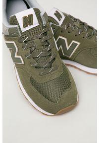 Oliwkowe sneakersy New Balance na sznurówki, z okrągłym noskiem, z cholewką