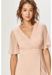 Różowa sukienka Vila casualowa, mini, rozkloszowana, gładkie