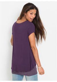 Długi shirt 2 w 1 bonprix jagodowo-biały. Kolor: fioletowy. Długość: długie