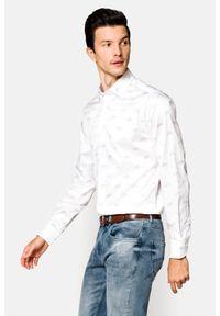 Lancerto - Koszula Biała z Nadrukiem Marisol. Okazja: na co dzień. Kolor: biały. Materiał: tkanina, bawełna, jeans. Wzór: nadruk. Styl: elegancki, casual