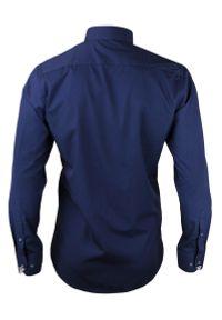 Chiao - Taliowana Koszula Męska, 100% BAWEŁNA - Slim-Fit, Długi Rękaw, Kobaltowa. Okazja: do pracy, na spotkanie biznesowe. Kolor: niebieski. Materiał: bawełna. Długość rękawa: długi rękaw. Długość: długie. Wzór: aplikacja. Styl: biznesowy, elegancki