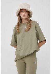adidas Originals - T-shirt bawełniany. Kolor: zielony. Materiał: bawełna. Wzór: haft