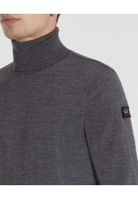 PAUL & SHARK - Ciemnoszary golf z logo. Typ kołnierza: golf. Kolor: szary. Materiał: wełna. Długość rękawa: długi rękaw. Długość: długie. Wzór: aplikacja