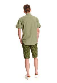 TOP SECRET - Koszula z lnem taliowana. Okazja: na co dzień. Kolor: zielony. Materiał: len. Długość rękawa: krótki rękaw. Długość: krótkie. Sezon: lato, wiosna. Styl: casual #4
