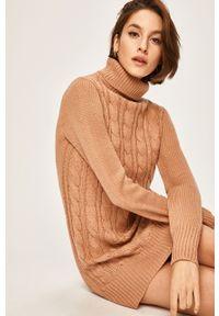 Różowy sweter ANSWEAR z golfem, casualowy, na co dzień
