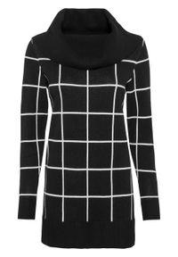 Długi sweter bonprix czarno-biel wełny w kratę. Kolor: czarny. Materiał: wełna. Długość: długie